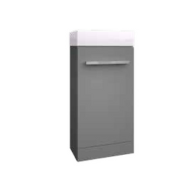 Purity Cloakroom Unit and Basin - Storm Grey Gloss