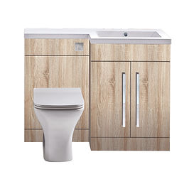 """L Shape WC Unit 1100mm Driftwood """"Made in Britain"""""""