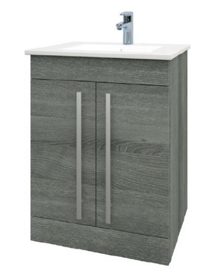 Purity 600mm Floor Standing 2 Door Unit & Ceramic Basin - Grey Ash