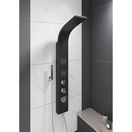 Luna Black Thermostatic Shower Panel