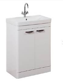 Options 500mm Floor Standing 2 Door Unit & Ceramic Basin - White