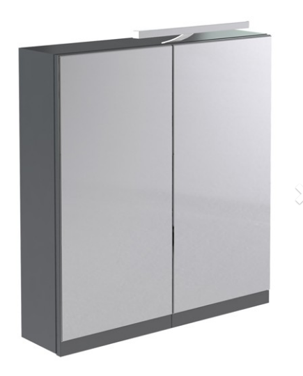Ikon 600mm Mirror Cabinet with Light & Shaver Socket - Grey