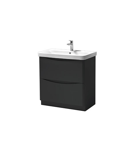 Cayo 800mm Floor Standing 2 Drawer Unit & Ceramic Basin - Anthracite