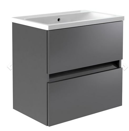 Ikon 600mm Wall Mounted 2 Drawer Unit & Ceramic Basin - Grey