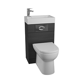 Futura Black Ash WC Unit with D-Shaped Pan & Seat