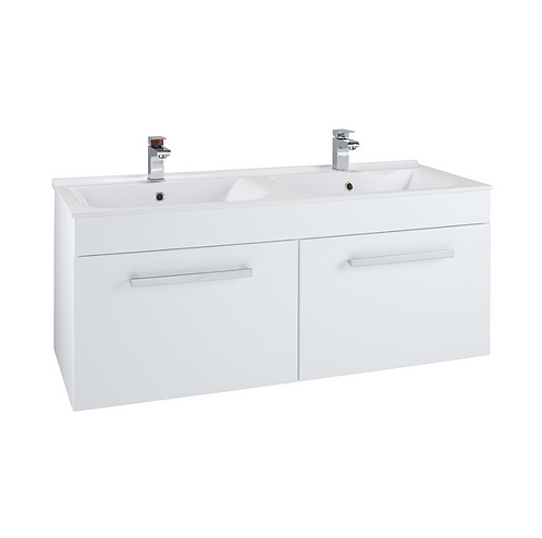 Double Polymarble Basin Gloss White Wall Hung 2-drawer Cabinet