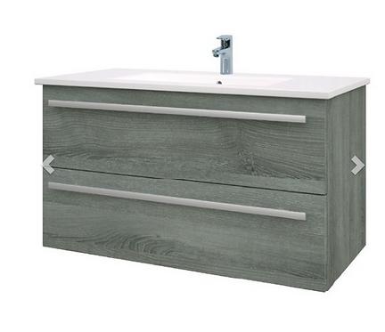 Purity 900mm Floor Standing 2 Door Unit & Ceramic Basin - Grey Ash