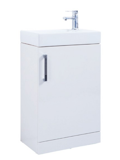 Liberty 550mm Floor Standing Unit with Ceramic Basin - White