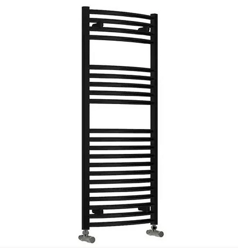 DIVA 500 X 1200 TOWEL RADIATOR BLACK CURVED