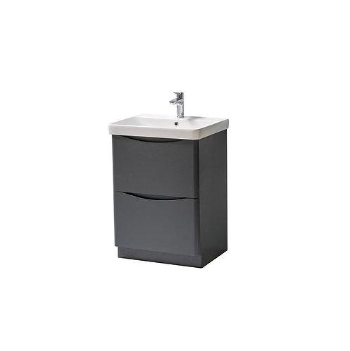Cayo 600mm Floor Standing 2 Drawer Unit & Ceramic Basin - Anthracite