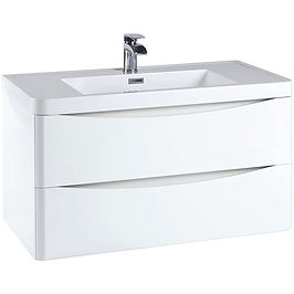 Bella 900 Wall Cabinet High Gloss White - With Basin