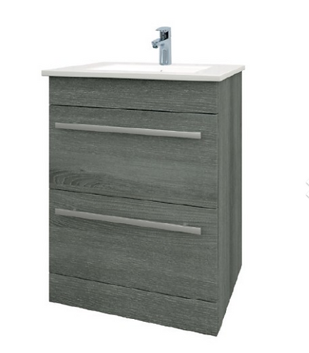 Purity 600mm Floor Standing Drawer Unit & Basin - Grey Ash