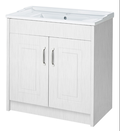800 2 Door Floor Standing Basin Unit Porcelain White Ash
