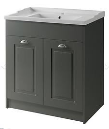 Astley 800mm Floor Standing 2 Door Unit & Ceramic Basin - Matt Grey