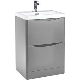 Bella 600 Floor Cabinet Pebble Grey With Basin