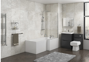 HALLE RIGHT L SHAPE BATH WITH SCREEN & SIDE PANEL 1700×700