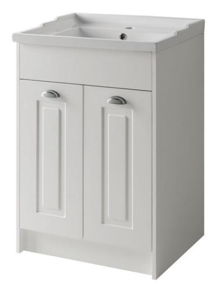 Astley 600mm Floor Standing 2 Door Unit & Ceramic Basin - Matt White