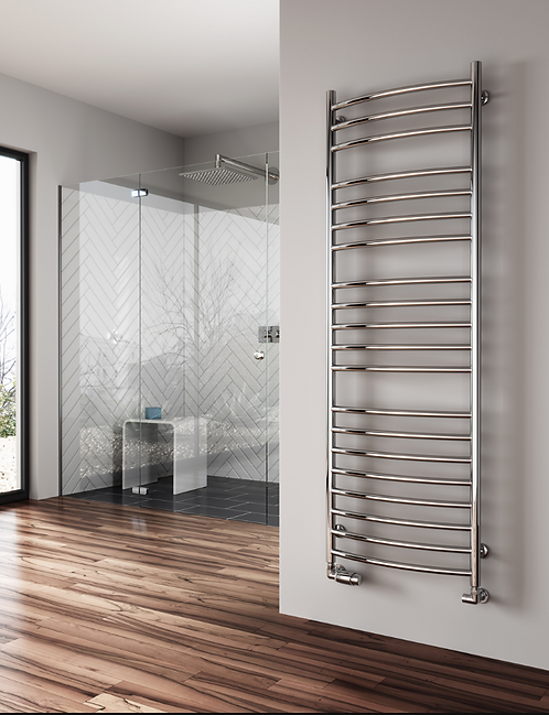 EOS 600 X 1200 CURVED STAINLESS STEEL TOWEL RAIL
