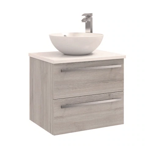 600mm Wall Mounted 2 Drawer Unit with Ceramic Worktop - Sit on bowl - G