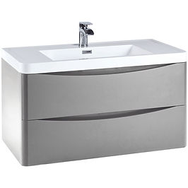 Bella 900 Wall Cabinet Pebble Grey - With Basin