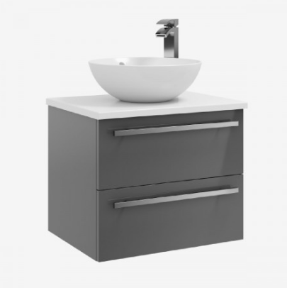 600mm Wall Mounted 2 Drawer Unit with Ceramic Worktop - Sit on bowl - Grey Gloss