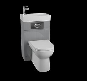 Futura Gloss Grey WC Unit with D-Shaped Pan & Seat