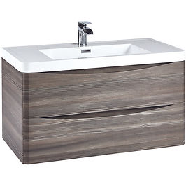 Bella 900 Wall Cabinet Avola Grey With Basin