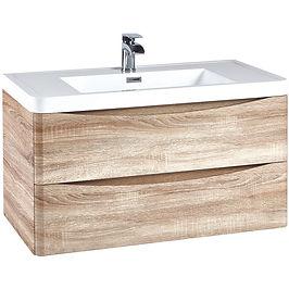 Bella 900 Wall Cabinet Bardolino Driftwood Oak With Basin