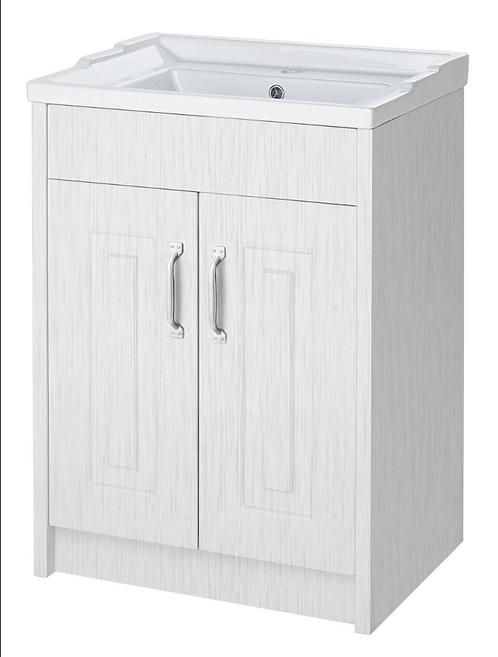 600 2 Door Floor Standing Basin Unit Porcelain White Ash