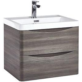 Bella 600 Wall Cabinet Avola Grey With Basin