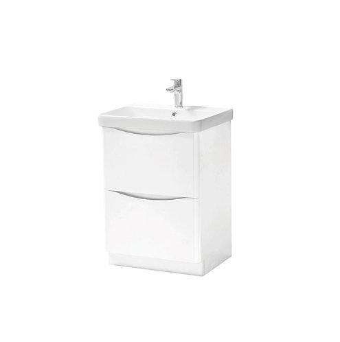 Cayo 600mm Floor Standing 2 Drawer Unit & Ceramic Basin - White