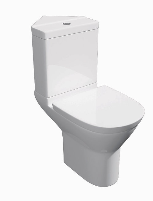 Project Round Close Coupled Corner Toilet - Cistern - Seat - White