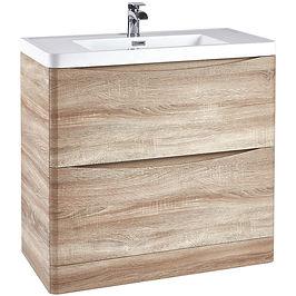 Bella 900 Floor Cabinet Bardolino Driftwood Oak With Basin