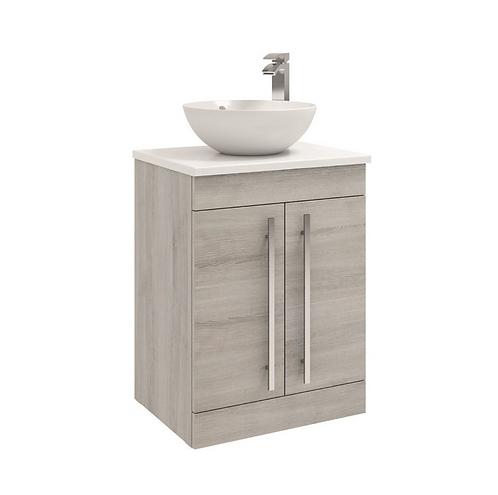 600mm Floorstanding 2 Door Unit with Ceramic Worktop - Sit on bowl - Grey Ash