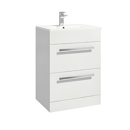 Lili 600 Cabinet Gloss White Standalone Two Drawer With Basin