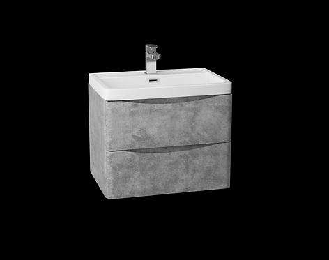 Bali Concrete 600mm Wall Mounted Cabinet & Ceramic Basin