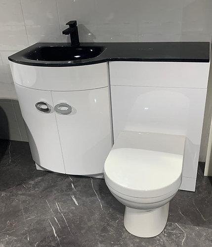 1100mm Bowed Vanity Unit with Black Glass Basin Top, BTW Unit and WC Plus Tap