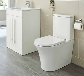 Kameo Rimless Close to Wall Close Coupled Toilet with Soft Close Seat