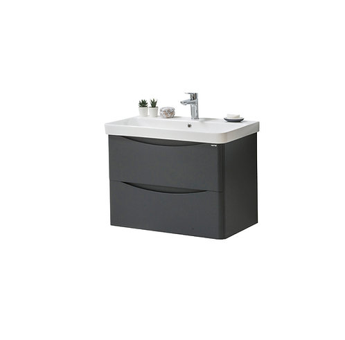 Cayo 800mm Wall Mounted 2 Drawer Unit & Ceramic Basin - Anthracite
