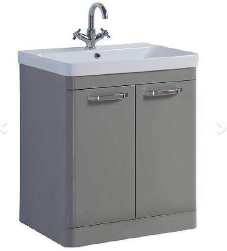 Options 800mm Floor Standing 2 Door Unit & Ceramic Basin - Basalt Grey