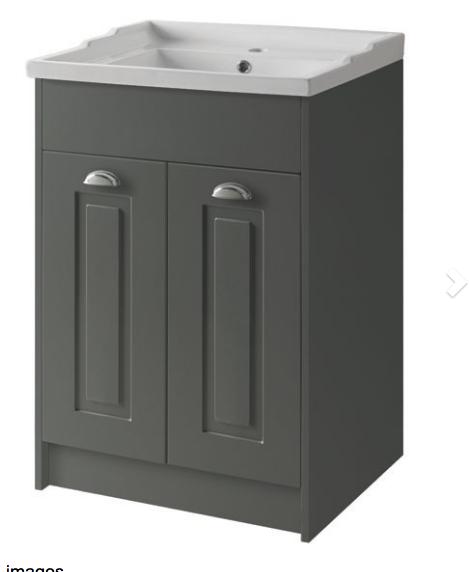 Astley 600mm Floor Standing 2 Door Unit & Ceramic Basin - Matt Grey