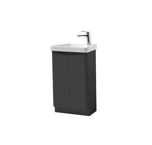 Cayo 500mm Floor Standing 2 Door Unit & Ceramic Basin - Anthracite