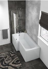HALLE LEFT L SHAPE BATH WITH SCREEN & SIDE PANEL 1700×700