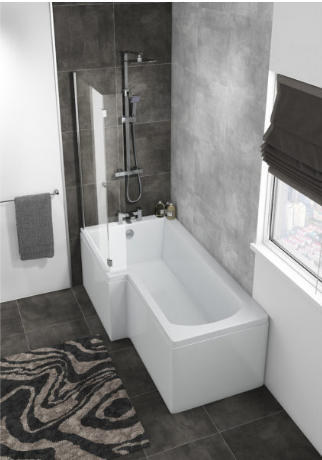 HALLE LEFT L SHAPE BATH WITH SCREEN & SIDE PANEL 1500×700