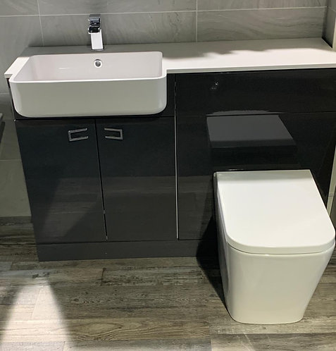 British Made 1200mm Vanity Unit, BTW Unit with WC, One Piece Top and Tap