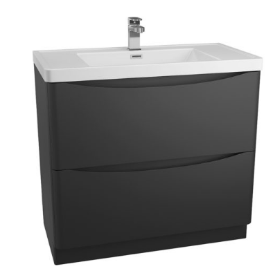 BALI BLACK 900MM FREE STANDING CABINET & POLYMARBLE BASIN