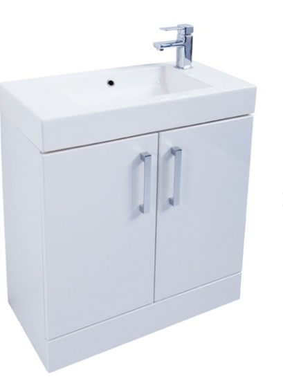 Liberty 700mm Floor Standing Unit with Ceramic Basin - White