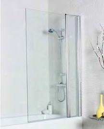 Shower Bath Screen Square w/ Extension Panel (1400x1000)