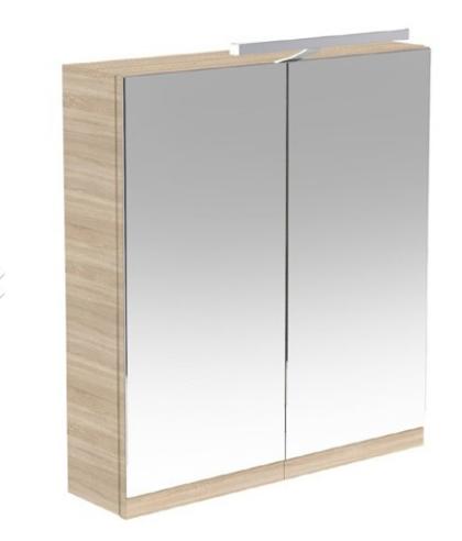 Ikon 600mm Mirror Cabinet with Light & Shaver Socket - Oak