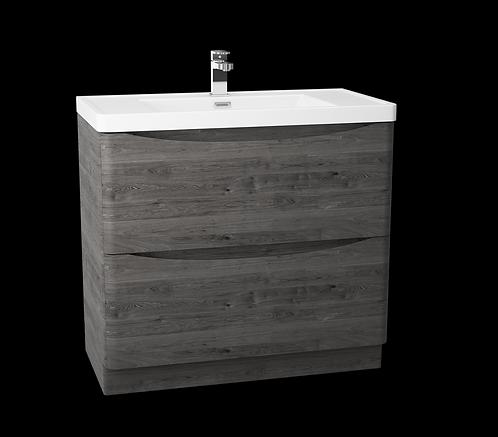 Bali Graphite Oak 900 Floor Standing Cabinet & Polymarble Basin